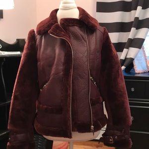 GORGEOUS cranberry teddy/faux fur aviator jacket